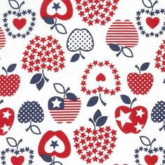 Holiday Inspirations Patriotic Fabric- Patriotic Apples