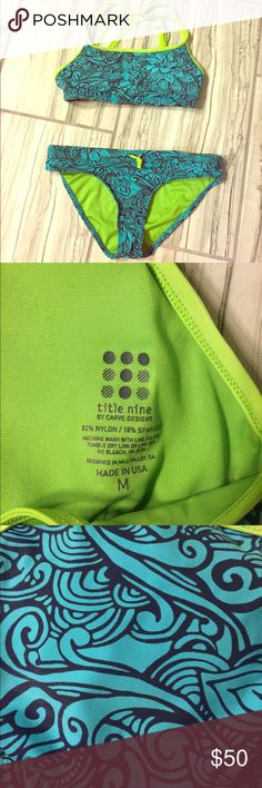 Title Nine Swim Suit (similar to Athleta) Sporty swimsuit, crisscrossing straps on the back, padded top. Hardly worn, very clean. The yellow is more like a neon green. Title Nine Swim Bikinis