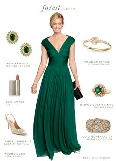 Forest green gown and outfit for Mother of the Bride