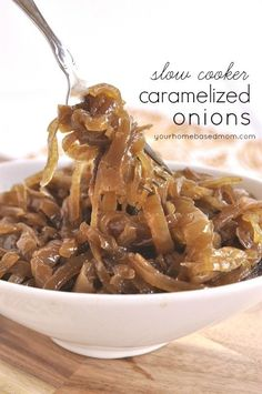 Create delicious caramelized onions easily in your slow cooker. Can be used in so many things - on burgers, pizza, in soups or on veggies.