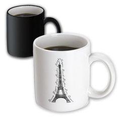 3dRose Paris Dream Bigger Inspirational Design Black and White, Magic Transforming Mug, 11oz