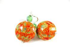 Orange Murano Earrings Fall Jewelry Venetian by GlassRiverJewelry, $36.00