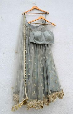 Baby Blue Lehenga Lace Set
