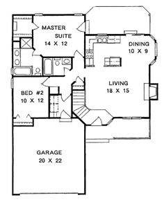 Cottage Style House Plan - 2 Beds 2 Baths 1075 Sq/Ft Plan #58-104 Floor Plan - Main Floor Plan - Houseplans.com
