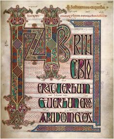 The Lindisfarne Gospels. c. 698-721. Gospel According to St. Matthew produced by monks in Northumberland, England.