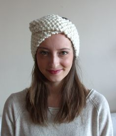 modern wrap headband / wool blend / chunky knit by purlknitting