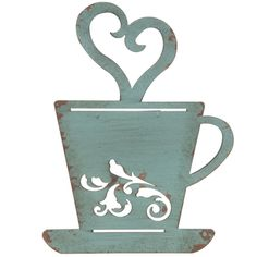 - Coffee Décor - Ideas of Coffee Décor - Turquoise Rusty Metal Coffee Cup Wall Kitchen Restaurant Coffee Shop Decor! Metal Tree Wall Art, Metal Wall Decor, Hobby Lobby Wall Art, Kitchen Decor Themes, Home Decor, Art Decor, Wall Decor Online, Metal Baskets, Rusty Metal