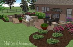 Contrasting Paver Patio Design With Grill Station Bar And Seat Walls 665 Sq Ft