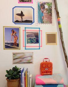 Washi Tape wall frames   The beach house   Home ideas   Boring wall no more   Roos Beach