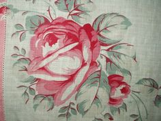 Early 1900's printed cotton handkerchief of a glorious rose.