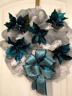 Teal Blue Silver and White Christmas wreath