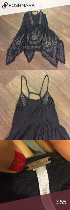 Free People dress Meadows of Medallion dress. Boho chic. Charcoal gray with light gray stitchwork. Perfect condition. Looks great with ankle boots or chucks! Free People Dresses