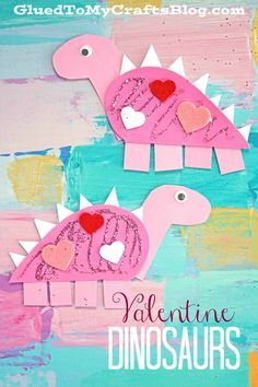 Craft Foam Valentine Dinosaur Kid Craft is part of Kids Crafts Dinosaurs Children - Today's Craft Foam Valentine Dinosaur kid craft idea is simply ROARSOME and perfect for the upcoming Valentine's Day holiday! Toddler Valentine Crafts, Dinosaur Valentines, Kinder Valentines, Valentines Day Activities, Funny Valentine, Craft Activities, February Toddler Crafts, Valentines Day Crafts For Preschoolers, Printable Valentine