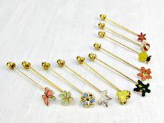 Vintage Gold Stick Pin Brooch Lot, Enamel Flower Bee Bird Butterfly Turtle Brooches Stick Pins, Vintage Costume Estate Jewelry Destash Lot by RedGarnetVintage