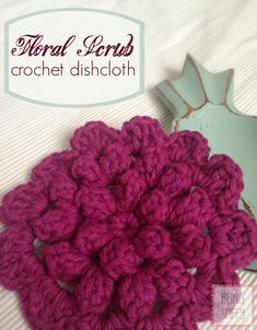 Crochet Floral Scrubbie~ free pattern. [Note to self: make two & join together w/ a round of sc, back to back for a heavy duty scrubbie.]