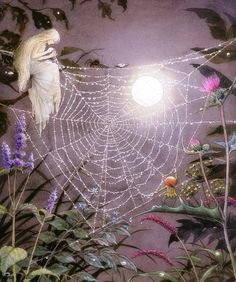 A spider's web, a faery thing Whose threads to daisy-petals cling, And quiver in the moonlit air; And on the cobweb here and there Round beads of pearl-like dew are hung By elfin fingers deftly strung Along each gleaming silver thread. — The Spider's Web, by Enid Blyton.     [Artwork by Asako Eguchi.]