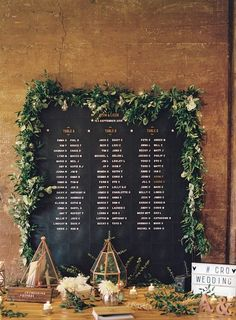 Love this pegboard / chalkboard table plan with foliage. Rose & Grey peg board table plan - Rose gold & blush pink outdoor wedding at Elmore Court. Anna Campbell gown, Cad & The Dandy Suit. Film - WE ARE THE CLARKES. Seating Plan Wedding, Wedding Signage, Seating Plans, Wedding Table Plans, Wedding Table Assignments, Gold Wedding, Wedding Flowers, Dream Wedding, Trendy Wedding