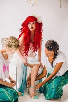 Yes, Mermaid Weddings Are Now A Thing #refinery29  http://www.refinery29.com/2014/10/77036/traci-hines-little-mermaid-wedding#slide1