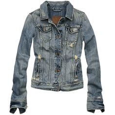 Abercrombie & Fitch > Women > Jackets > Jenna ❤ liked on Polyvore featuring outerwear, jackets, tops, coats, coats & jackets, denim, blue denim jacket, blue jackets, denim jacket and abercrombie fitch jacket