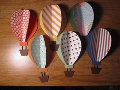 hot air balloon door decs. Thinking of using paint chips for easy colorful balloons.