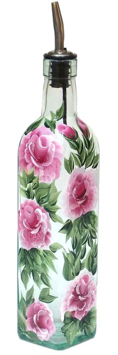 Hand Painted Glass Bottle Olive Oil Dispenser Pink Roses Green Leaves Vines Hand Painted Glassware Hand Painted Oil Bottles Olive Oil Bottle on Etsy, $24.95
