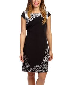 Another great find on #zulily! Black & White Floral Cap-Sleeve Dress #zulilyfinds