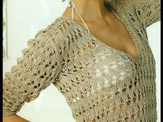 how to crochet a sweater, super easy, with a wave stitch taht will look great) Teje un sweater, jersey, saco. Crochet Wool, Crochet Cardigan, Knitting Videos, Crochet Videos, Lace Tops, Knit Patterns, Crochet Clothes, Crochet Projects, Stitch