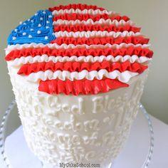 Patriotic buttercream ruffled flag cake tutorial by MyCakeSchool.com! Simple and easy!