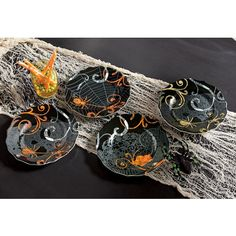 Four different patterned Halloween plates. Microwave and dishwasher safe. Decorate Now, Pay Later with Country Door Credit Halloween Plates, Halloween Decorations, Salad Plates, Glazed Ceramic, Velvet, Montgomery Ward, Country, Microwave, Dishwasher
