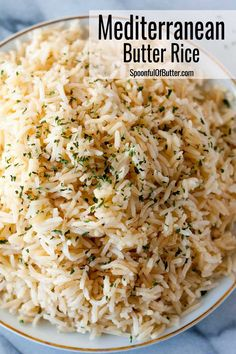Mediterranean Butter Rice - goes well with anything, from pork chops, steaks, fish, kebobs, souvlakis, sausages or anything grilled or fried. It has just the right hint of butter and flavor from the stock. #mediterranean #sidedish Fish Dinner, Dinner Sides, Dinner Menu, Sides For Pork Chops, Rice Side Dishes, Pork Chop Side Dishes, Side Dishes For Ribs, Rice On The Stove, Quinoa