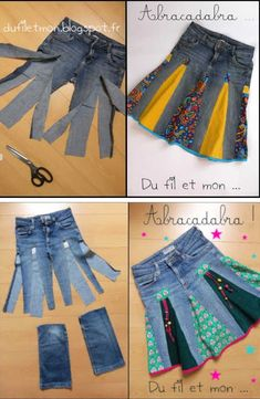The Cutest Upcycled Clothing Ideas - Ropa&Accesorios Sewing Clothes, Upcycled Clothing, Clothing Ideas, Clothes Crafts, Recycle Jeans, Upcycle Shirts, Shirt Refashion, Clothes Refashion, Denim Ideas