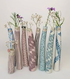 Elongated cylinder, pottery / clay / ceramic character vases by The Pottery Parade on FB/Etsy Mccoy Pottery Vases, Raku Pottery, Antique Pottery, Handmade Pottery, Slab Pottery, Thrown Pottery, Handmade Ceramic, Painted Pottery, Weller Pottery