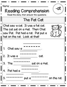 3 differentiated versions for each short vowel word family - over 30 word families included! Reading Intervention, Reading Passages, Kindergarten Reading, Reading Strategies, Reading Skills, Teaching Reading, Reading Comprehension, Free Reading, Cat Reading