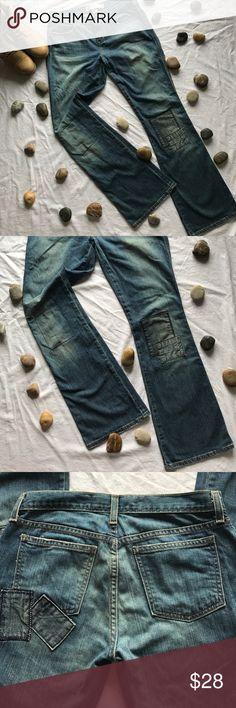 """GAP unique patchwork distress low rise  jeans GAP patchwork jeans , distress jeans , ultra low rise , rise 8.5"""" inseam 32"""", 99% cotton 1% spandex GAP Jeans Straight Leg"""