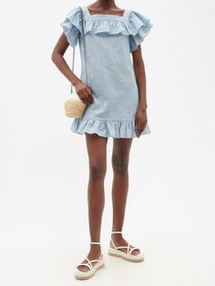 Blue The Cry Baby floral-print linen-blend mini dress | The Vampire's Wife | MATCHESFASHION UK Susie Cave, The Vampires Wife, Stella Mccartney Falabella, Printed Linen, Cry Baby, Snug Fit, Floral Prints, Mini Skirts, Casual