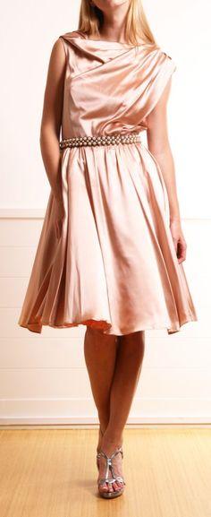 This is a gorgeous tea length dress! Love blush silk