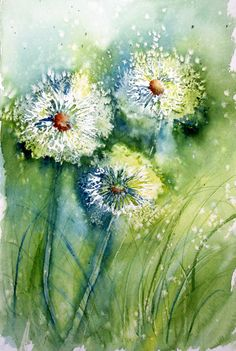 "Dandelion Clocks | 8"" x 12"" Watercolor Arches 140#CP Though … 