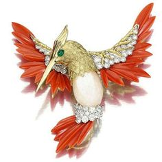 Hummingbird by Kutchinsky, circa 1975 - Carved Coral, Gold, Diamonds, Mother of Pearl and cabochon Emeralds (Sotheby's London Nov 2007 lot no 8) - £8,125