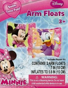 7157dadd0c8b Disney Minnie Mouse   Daisy Duck Set of 2 Swimming Pool Arm Floats Swim  Time Fun! Contains 2 Arm Floats Float Repair Kit Included For Children Up  to 65 ...