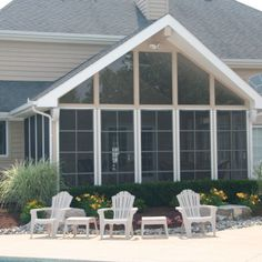 (Deb says, hmm, roofed, inline w/ farmhouse one already, back door there, creates entrance covered, adds a room-like entrance, may be just screened, maybe able to insert glass windows, large enough but not over width of house...Porch-Conversion-Sunrooms-72