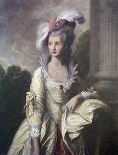 This tilt hat with the large white feathers is amazing. Not to mention her most gorgeous stand up collar!    The Honorable Mrs. Graham (Mary) who had a bit of a fling with Georgiana the Duchess of Devonshire.