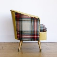 BLANKET by Maresa Patterson for NUBE HOME Jaeger Barrel Chair >> SEATTLE, WA >> Classic mid-century styling in a cozy swivel barrel chair, with vintage ochre vinyl and plaid Jaeger wool. We love the brass studded detailing. For NuBe Green