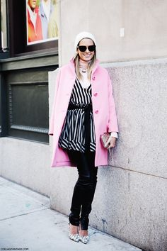 New_York_Fashion_Week-Street_Style-Fall_Winter-2015-Stripes_Fur_Coat-White_Boots-Helena_Bordon-Pink_Coat-BEanie-Leather_Trousers-
