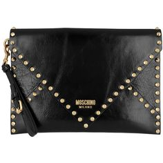 Moschino Evening Bag - Studded Logo Clutch Black - in black - Evening... (2,200 PEN) ❤ liked on Polyvore featuring bags, handbags, clutches, black, genuine leather purse, man bag, studded purse, leather hand bags and studded clutches