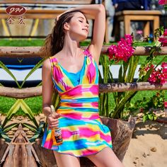 23.15$  Buy here - http://ali9wt.shopchina.info/go.php?t=32797408471 - Swimming Suit For Women One Piece Swimsuit Plavky Girls Bikinis Brand 2017 New Women'S Rainbow Color One-Piece Skirt Large Mayo  #magazineonlinebeautiful