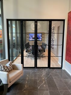 Our client wanted to enhance the look of his new boardroom. He made the call to weldwork and our team designed these thin line architectural steel doors. Office Interior Design, Kitchen Interior, Bathroom Interior, Bathroom Ideas, Kitchen Design, Commercial Design, Living Room Designs, New Homes, House Design