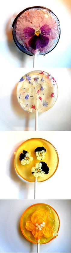 Edible Flower Petals Are Preserved in These Unique Lollipops- Edible Flower Petals Are Preserved in These Unique Lollipops Love this idea for lollipops with real, edible flowers in them! Birthday Desserts, Flower Food, Edible Gifts, Diy Food Gifts, Edible Favors, Candy Recipes, Confectionery, Food Design, Cake Decorating