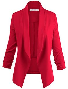 Luna-Flower-Womens-Solid-Color34-Cinched-Sleeve-Open-Front-Blazer-Jackets