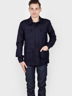 Basus - Overshirt Wool Flannel Full Navy - Antic Boutik