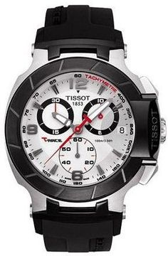 559b8dfeac9 Tissot T-Race men s Swiss made chronograph sport watch has Arabic numbers  on silver dial with black rubber strap. Shop for Tissot T-Race men s sport  watch.